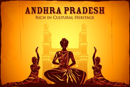 andhra: illustration depicting the culture of Andhra Pradesh, India