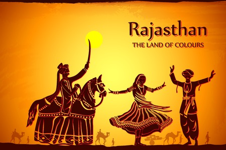 india culture: illustration depicting the culture of Rajasthan, India