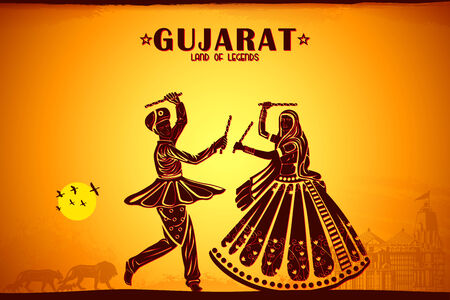 illustration depicting the culture of Gujrat, India illustration