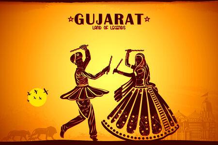 india culture: illustration depicting the culture of Gujrat, India Stock Photo