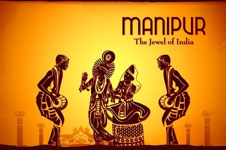 krishna: illustration représentant la culture de Manipur, en Inde