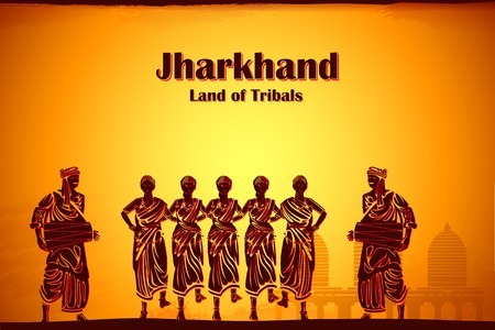 india culture: illustration depicting the culture of Jharkhand, India