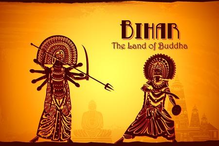 india culture: illustration depicting the culture of Bihar, India
