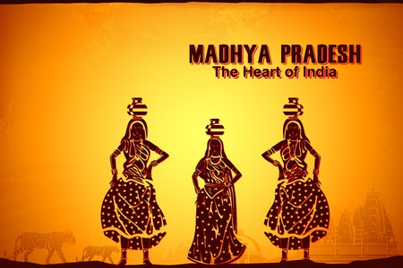 wildlife reserve: illustration depicting the culture of Madhya Pradesh, India