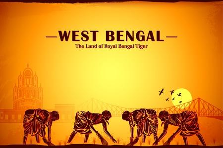 Ilustración que representa la cultura de Bengala Occidental, India Foto de archivo - 29413558
