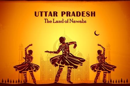 uttar pradesh: illustration depicting the culture of Uttar Pradesh, India