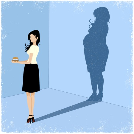 Slim woman casting fat woman shadow in vector Vector