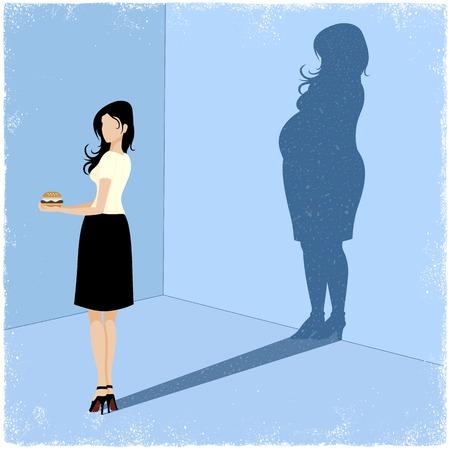 woman shadow: Slim woman casting fat woman shadow in vector Illustration