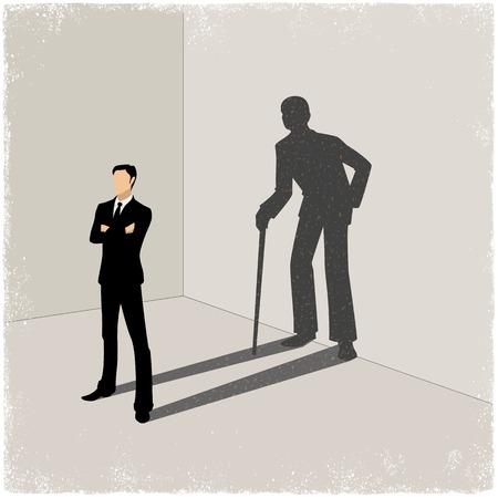 levantandose: Hombre joven proyección de sombras del viejo hombre en el vector