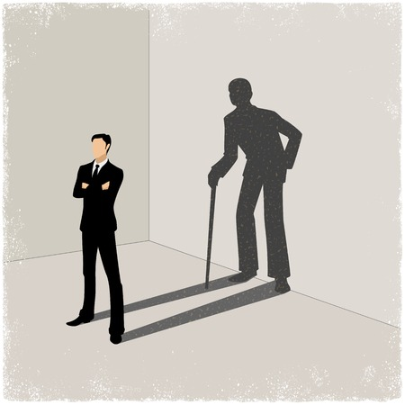 young generation: Young man casting shadow of old man in vector