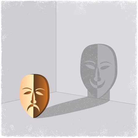 comedy disguise: Sad mask casting shadow of happy face in vector
