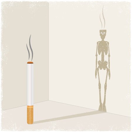 deadly: Cigarette casting shadow of skeleton in vector Illustration