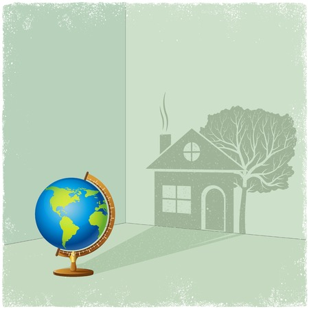 Globe casting shadow of house and tree in vector Vector