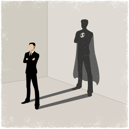 shadow: Businessman casting superhero shadow in vector