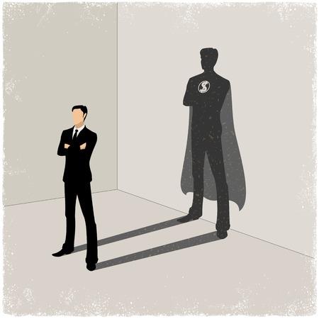 Zakenman gieten superheld schaduw in vector