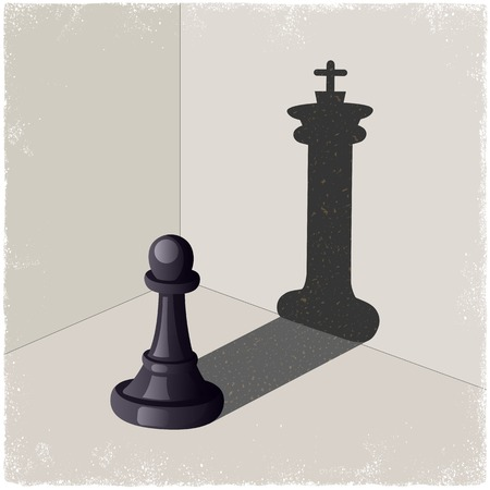 chess board: Chess pawn casting a king piece shadow in vector