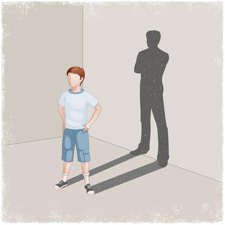 Kind gieten schaduw van de jonge man in vector Stock Illustratie
