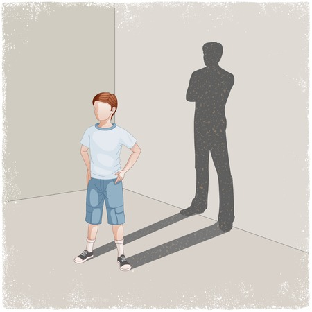 Child casting shadow of young man in vector