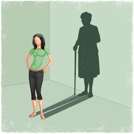 aging process: Young lady casting shadow of old woman in vector
