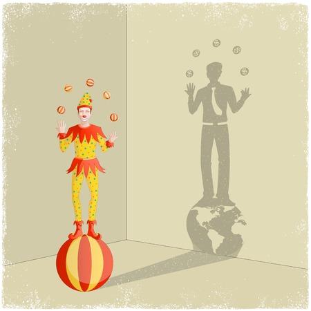 tonto: Payaso que hace juegos malabares proyectando la sombra de hombre de negocios en el vector