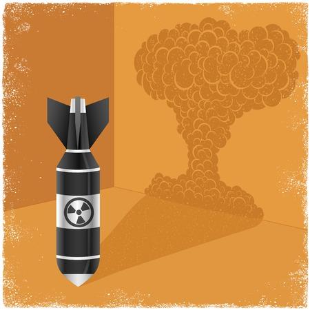 nuclear bomb: Fundici�n bomba nuclear sombra de explosi�n de nubes en el vector
