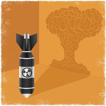 atomic explosion: Nuclear bomb casting shadow of explosion cloud in vector Illustration
