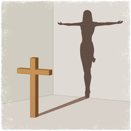 crucify: Cross casting shadow of Jesus Christ in vector Illustration