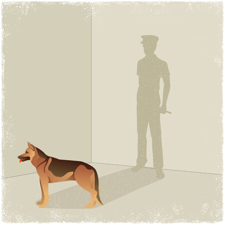 the watchman: Dog casting shadow of guard in vector