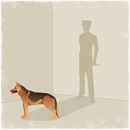perro policia: Perro proyección de sombras de guardia en el vector Vectores