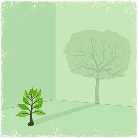 Sapling casting shadow of big tree in vector Vector