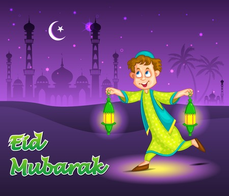 Boy with fanoos celebrating Eid