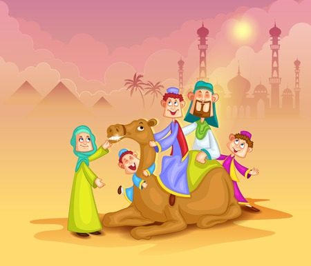 muslim: Muslim family on camel ride celebrating Eid