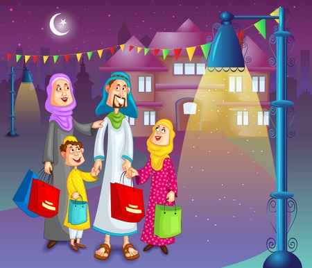 kid shopping: Happy muslim family doing shopping for Eid