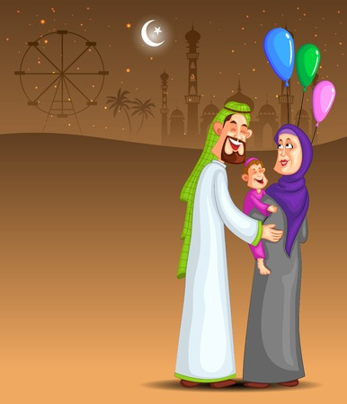 amusment: Happy muslim family celebrating Ramadan Kareem