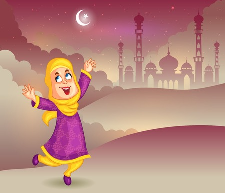 cresent: Happy muslim girl wishing Eid mubarak Illustration