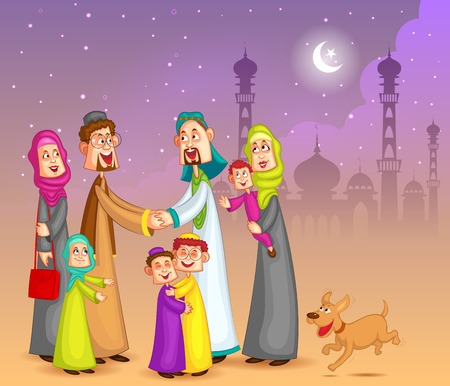 Muslim families wishing Happy Eid Illustration