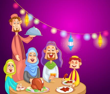 iftar: Happy muslim family enjoying iftar for Eid celebration Illustration