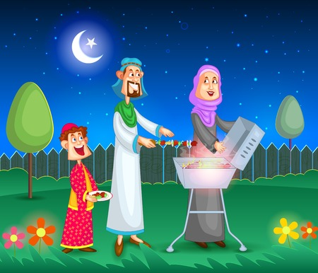 santa cena: Familia musulmana haciendo barbacoa