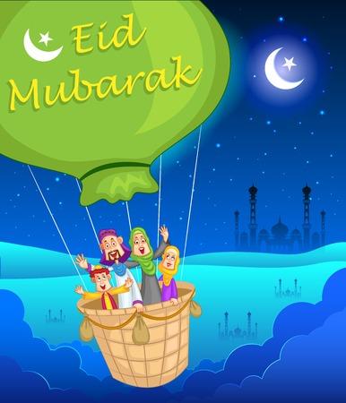 Happy muslim family in hot air balloon celebrating Eid