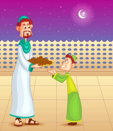 dates fruit: Happy father and son with dates for Eid