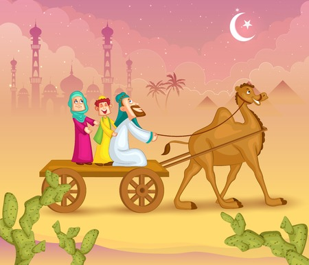 Muslim family on camel ride celebrating Eid Vector