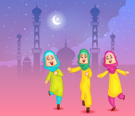 cresent: Happy muslim girls wishing Eid mubarak Illustration