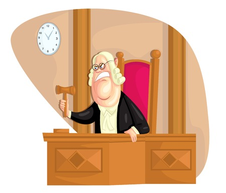 verdicts: illustration of judge with gavel in vector Illustration