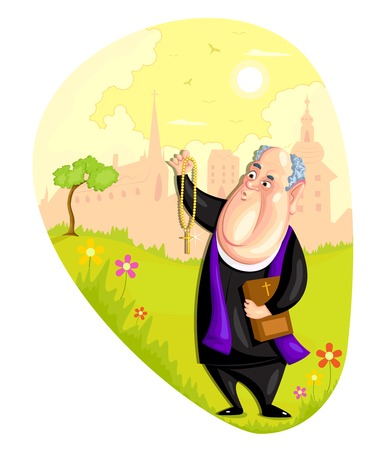the catholic church: illustration of Church priest in vector