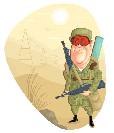 sergeant: illustration of army man with gun in vector