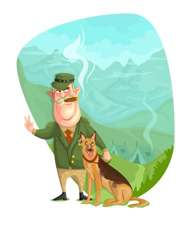 sergeant: illustration of army General with dog in vector
