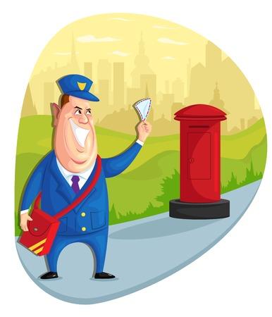 illustration of postman delivering letter in vector Vector