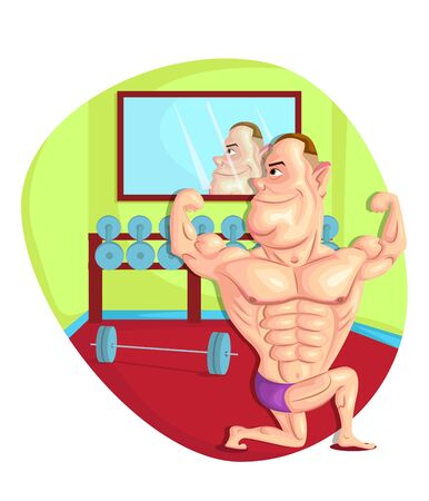 masculinity: illustration of body builder in vector
