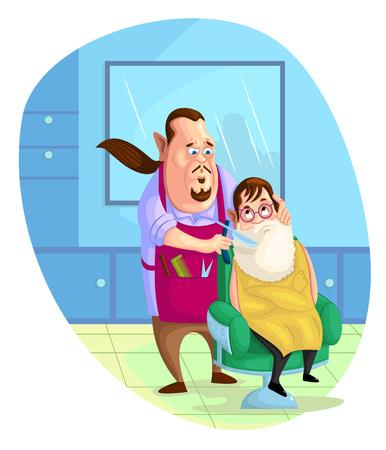 hairstylist: illustration of barber shaving customer in vector Illustration