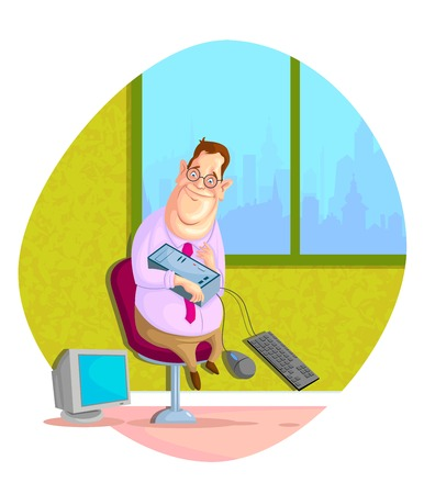 computer repairing: illustration of computer technician in vector
